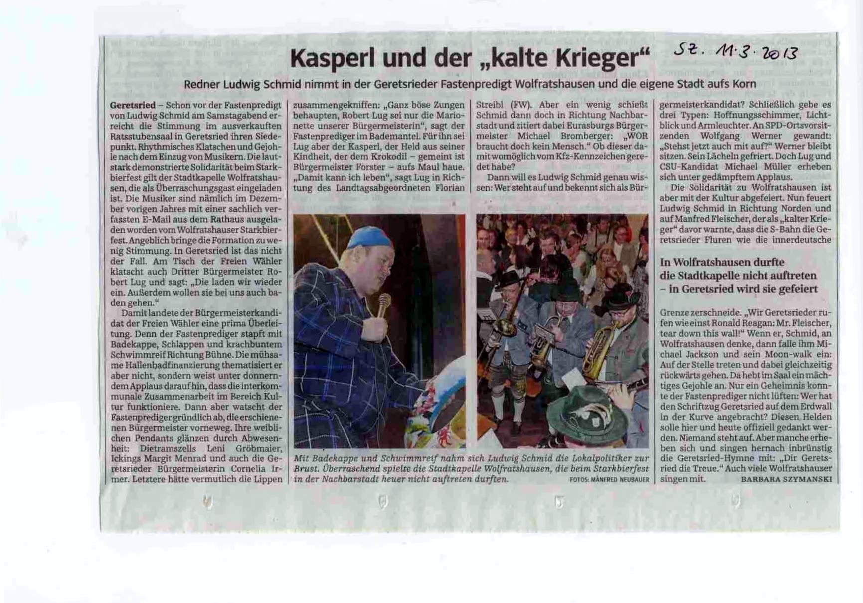 Stadtkapelle wolfratshausen e v presse for Isar kurier online